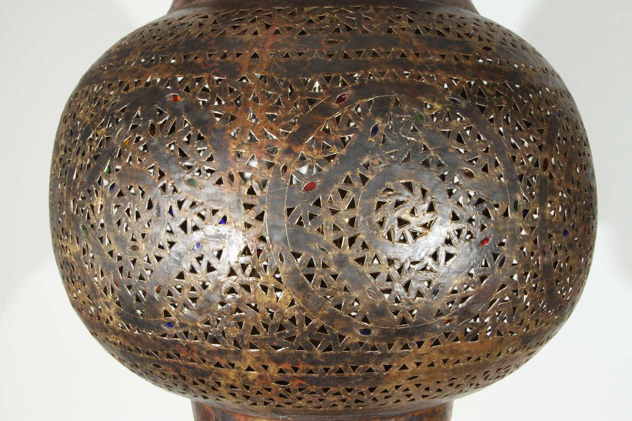 Large Moroccan Brass Hanging Lamp 5