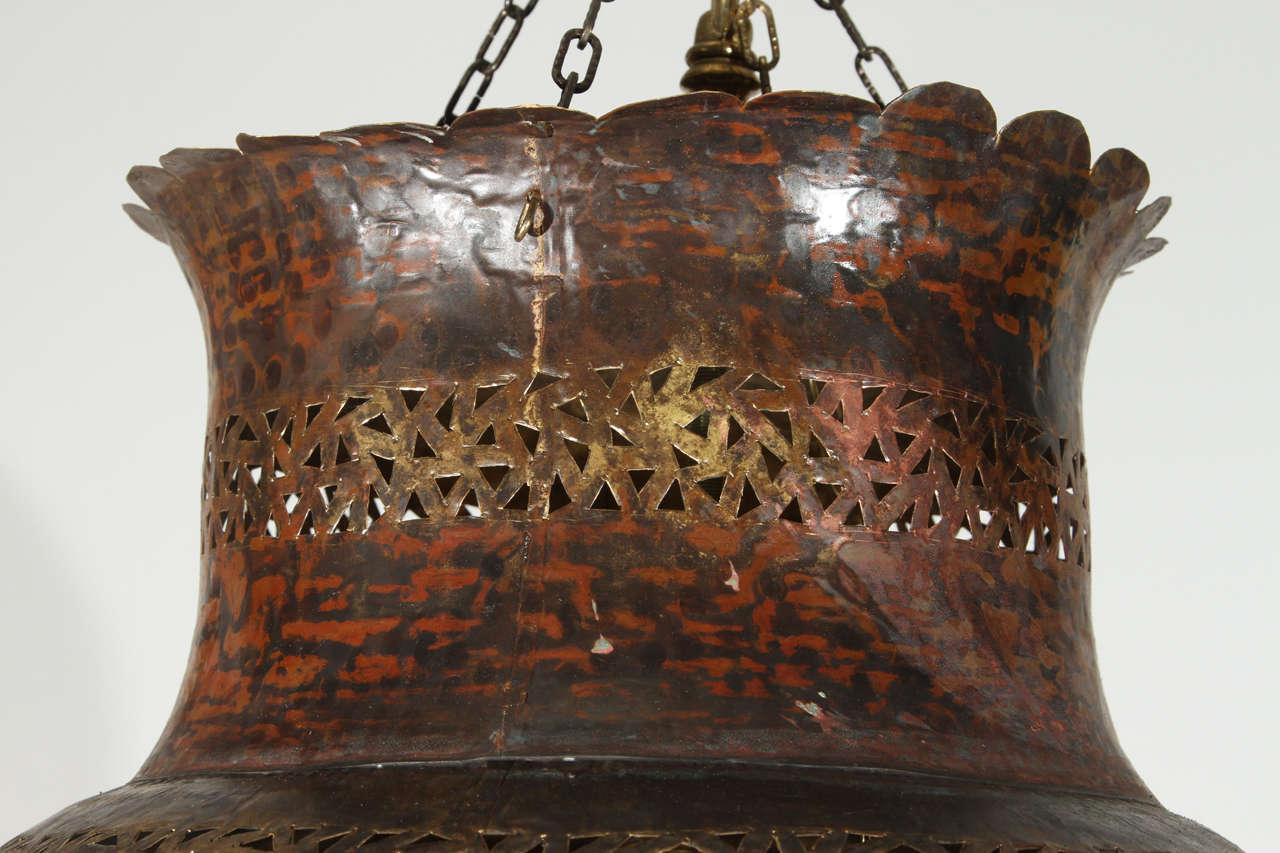 Large Moroccan Brass Hanging Lamp 6