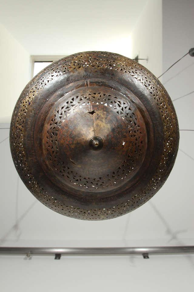 Large Moroccan Brass Hanging Lamp 7