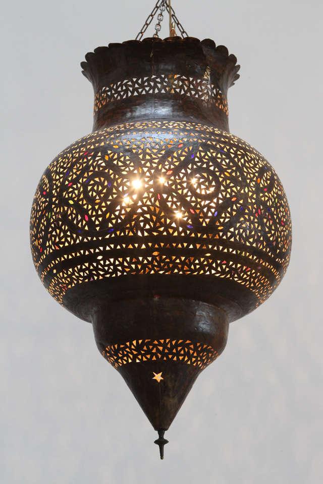 Large Moroccan Brass Hanging Lamp 2