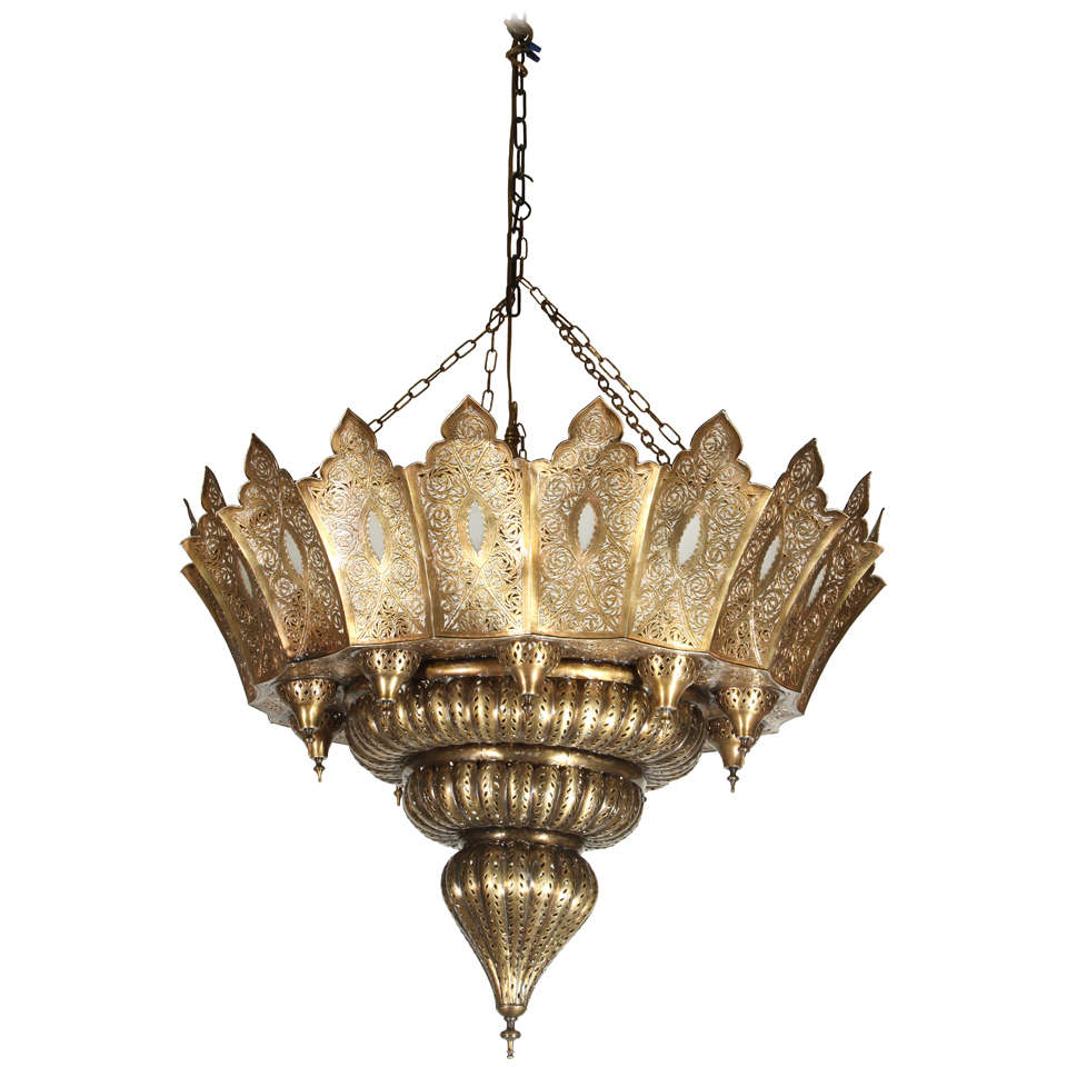 Large Moroccan Pierced Br Chandelier At 1stdibs