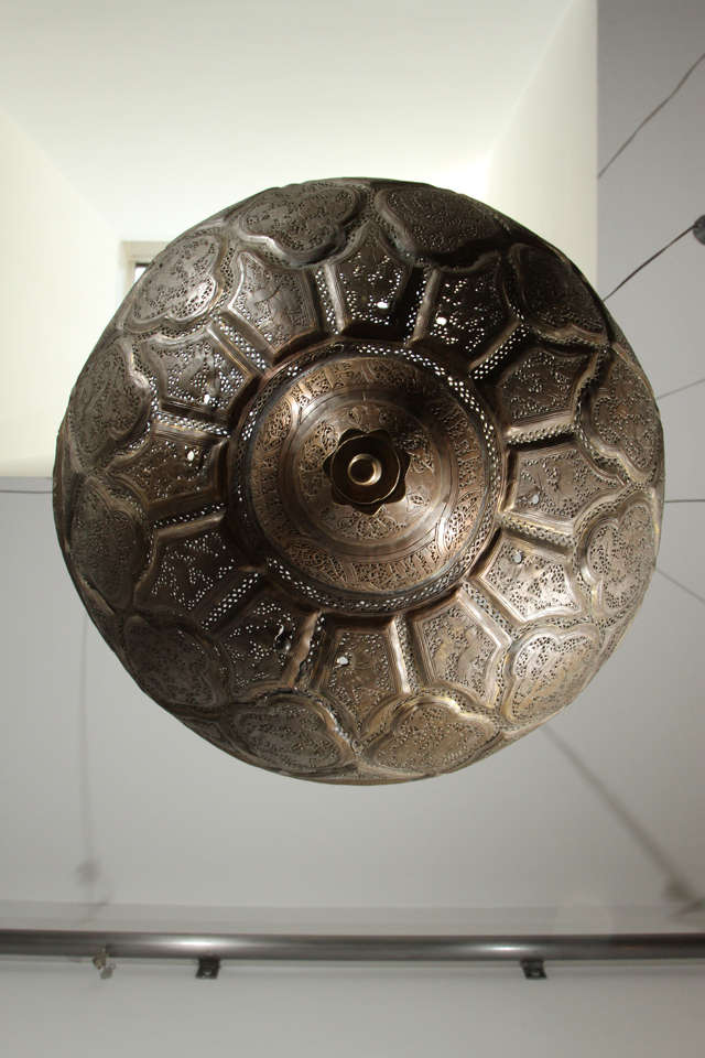 19th Century Antique Ottoman Pierced Brass Hanging Mosque Lamp. For Sale