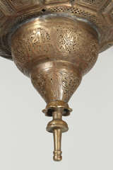 Antique Ottoman Pierced Brass Hanging Mosque Lamp. image 6