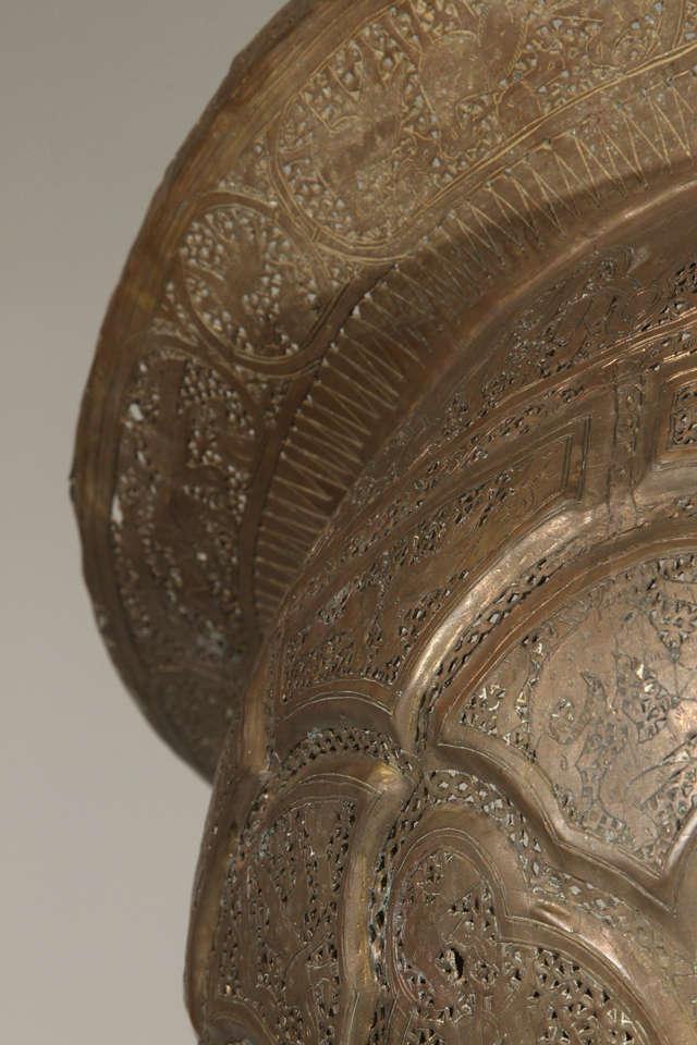 Antique Ottoman Pierced Brass Hanging Mosque Lamp. 8