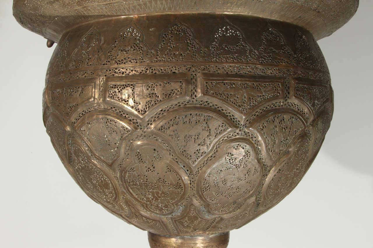 Antique Ottoman Pierced Brass Hanging Mosque Lamp. 9