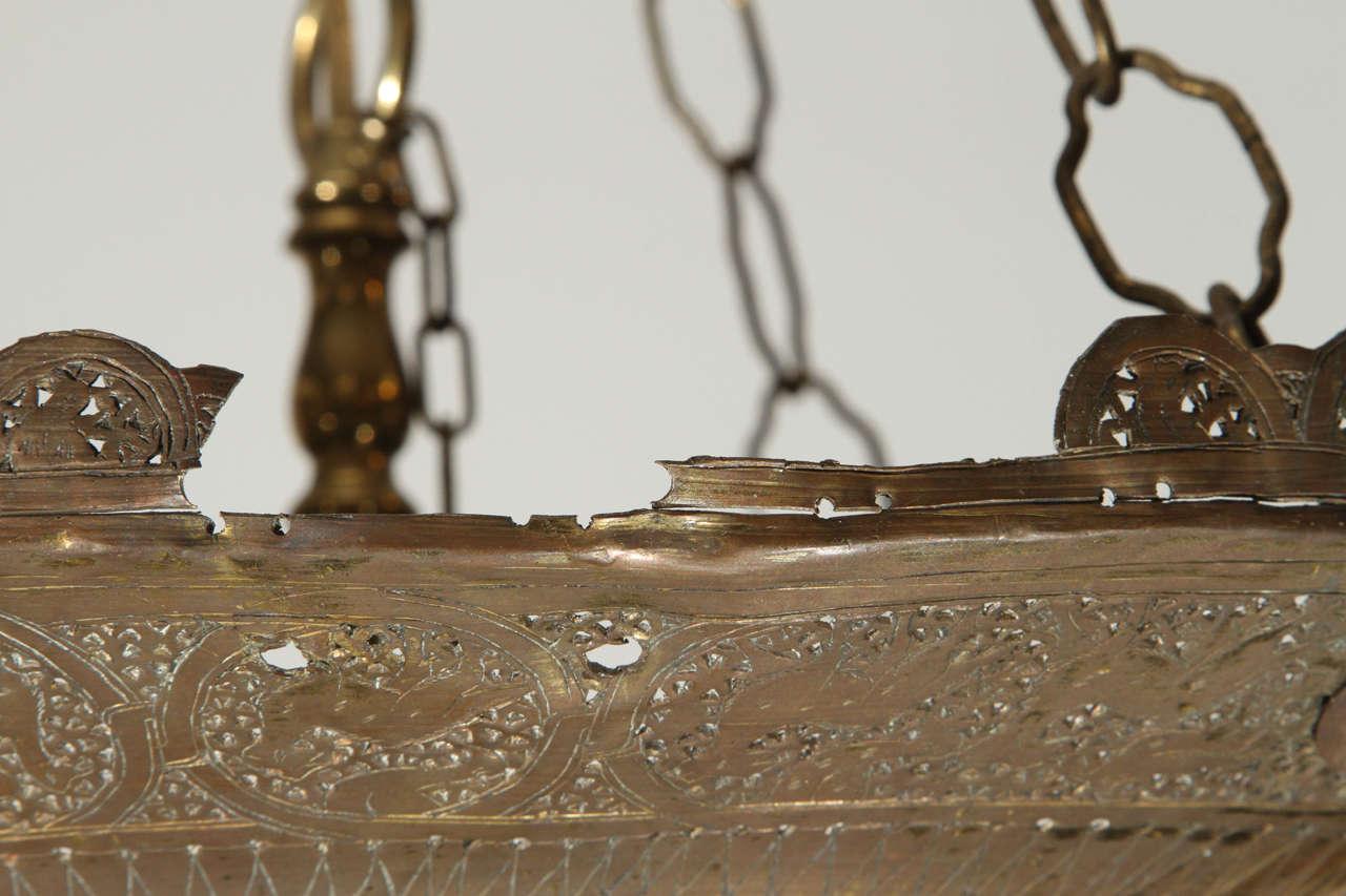 Antique Ottoman Pierced Brass Hanging Mosque Lamp. 10
