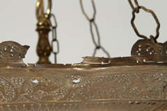 Antique Ottoman Pierced Brass Hanging Mosque Lamp. image 10