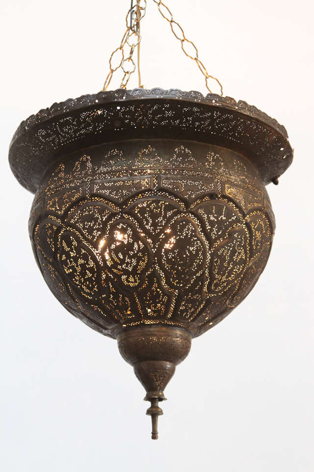 Early 19th century Antique filigree pierced brass Turkish Mosque Lamp. Unique ceiling fixture pierced with very fine Ottoman Islamic calligraphy, foliage and scenes. Rewired for electricity. Great patina   Mosaik provides Antiques, Moorish Style