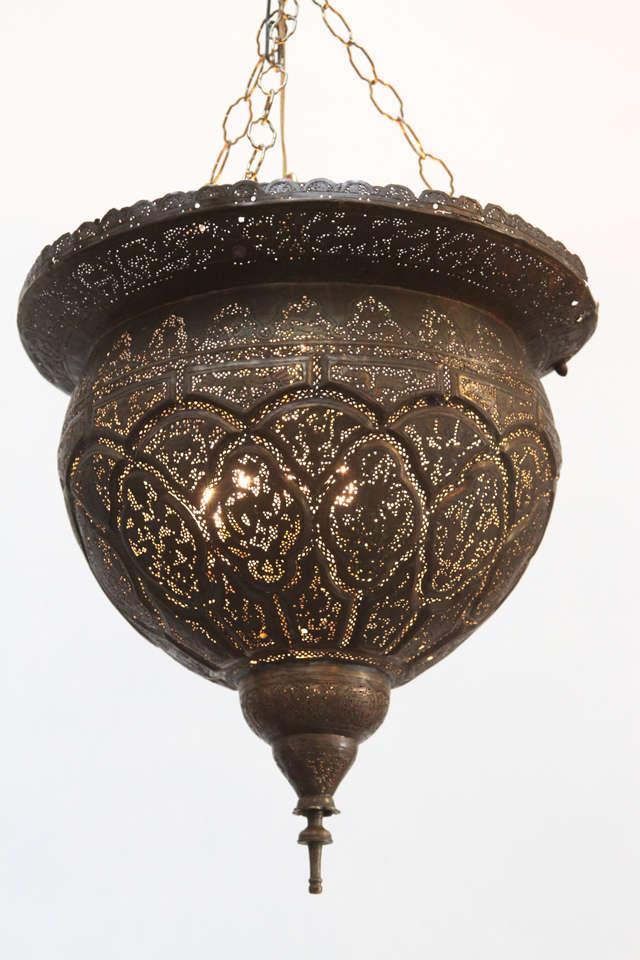 Antique Ottoman Pierced Brass Hanging Mosque Lamp At 1stdibs