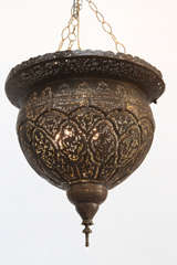 Antique Ottoman Pierced Brass Hanging Mosque Lamp. image 2