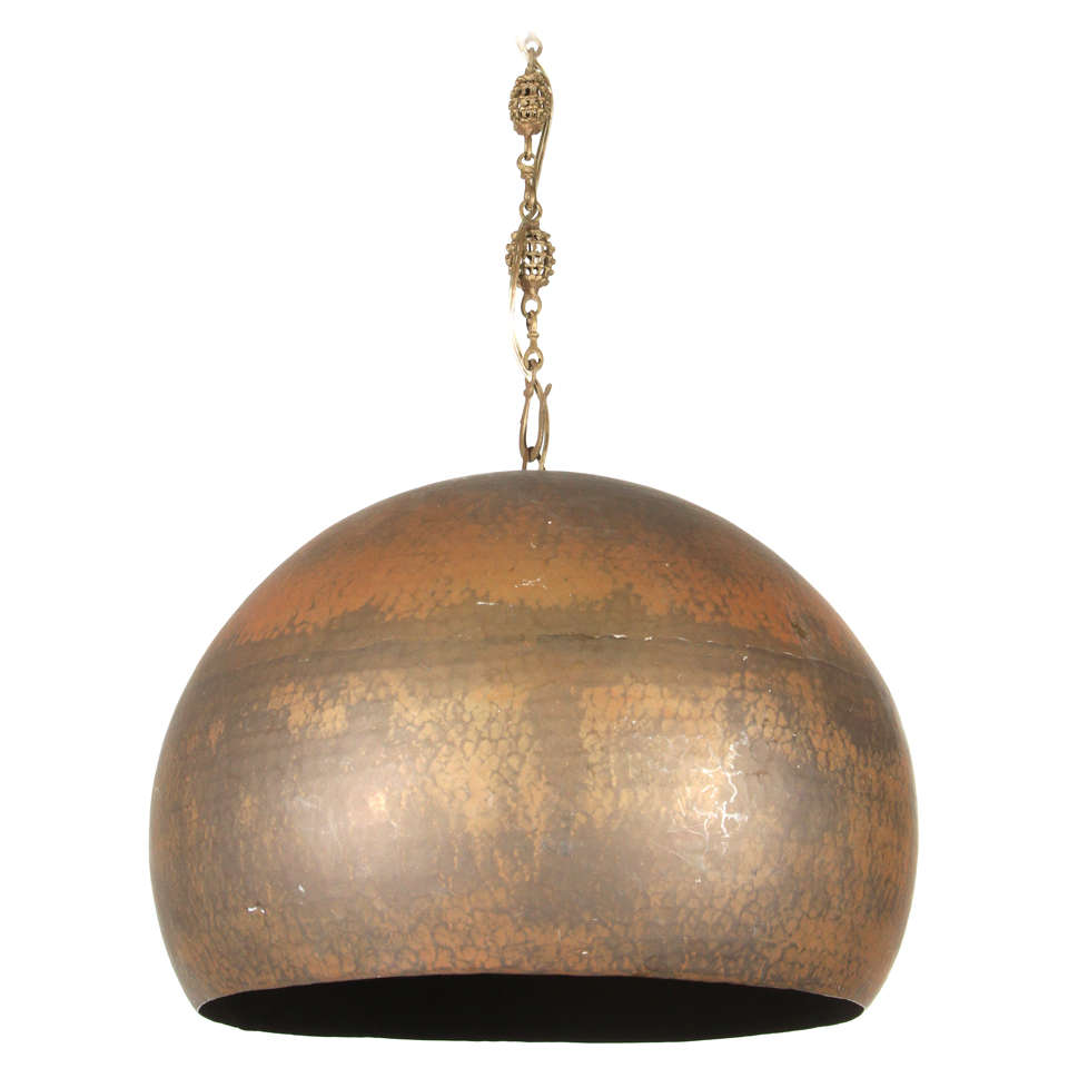 Modernist Mid Century Copper Hammered Pendant Lamp At 1stdibs