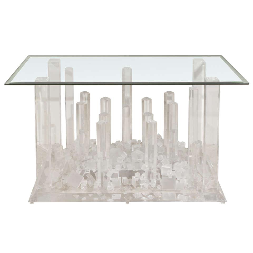 Sculptural Lucite Console Table