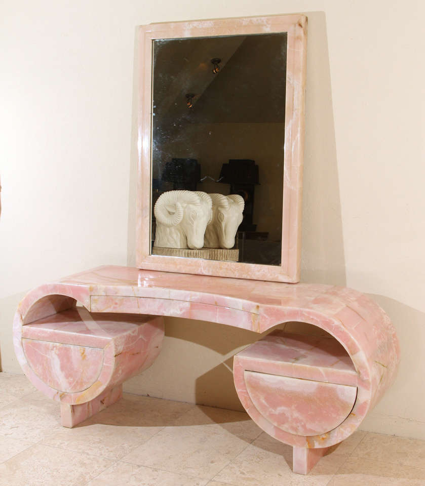 Stunning Art Deco Pink Marble Vanity and Mirror image 2