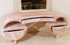 Stunning Art Deco Pink Marble Vanity and Mirror thumbnail 9