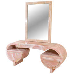 Stunning Art Deco Pink Marble Vanity and Mirror thumbnail 1
