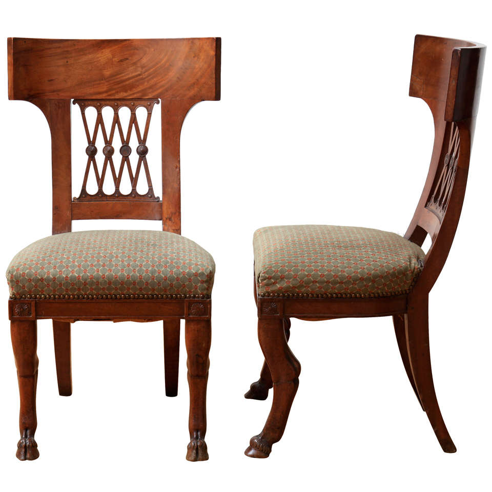 Greek style furniture - Pair Of Directoire Chairs With Style Elements Of The Greek Klismos Chair 1