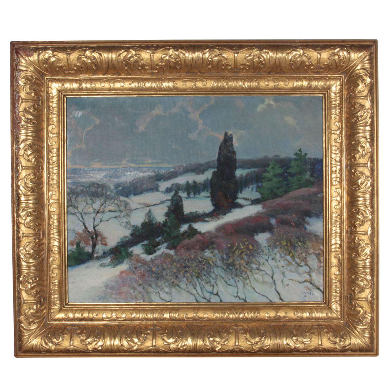 Davol Photo1: Winter Landscape Painting By Joseph Benjamin Davol (1864