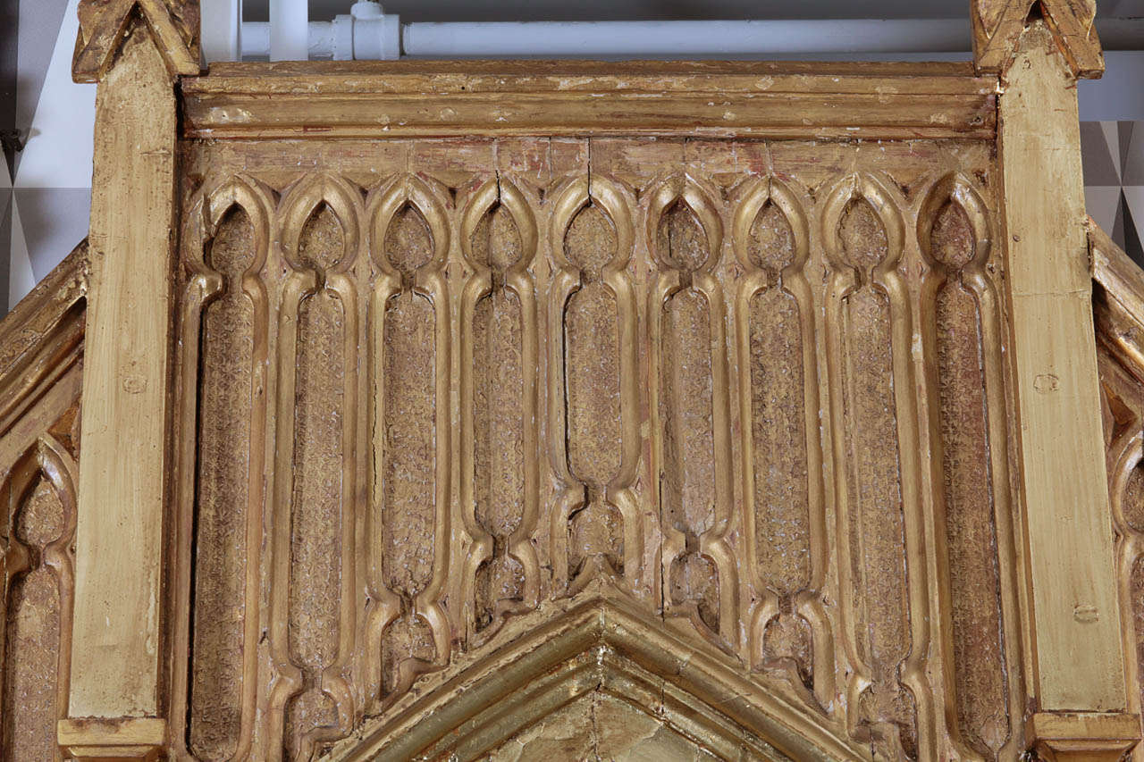 Pair of Pugin Gothic Giltwood Mirrors ~9 feet tall For Sale 2