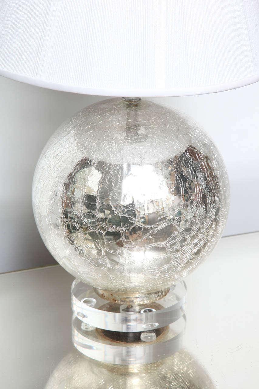 Crackle Mercury Glass Globe Lamps At 1stdibs