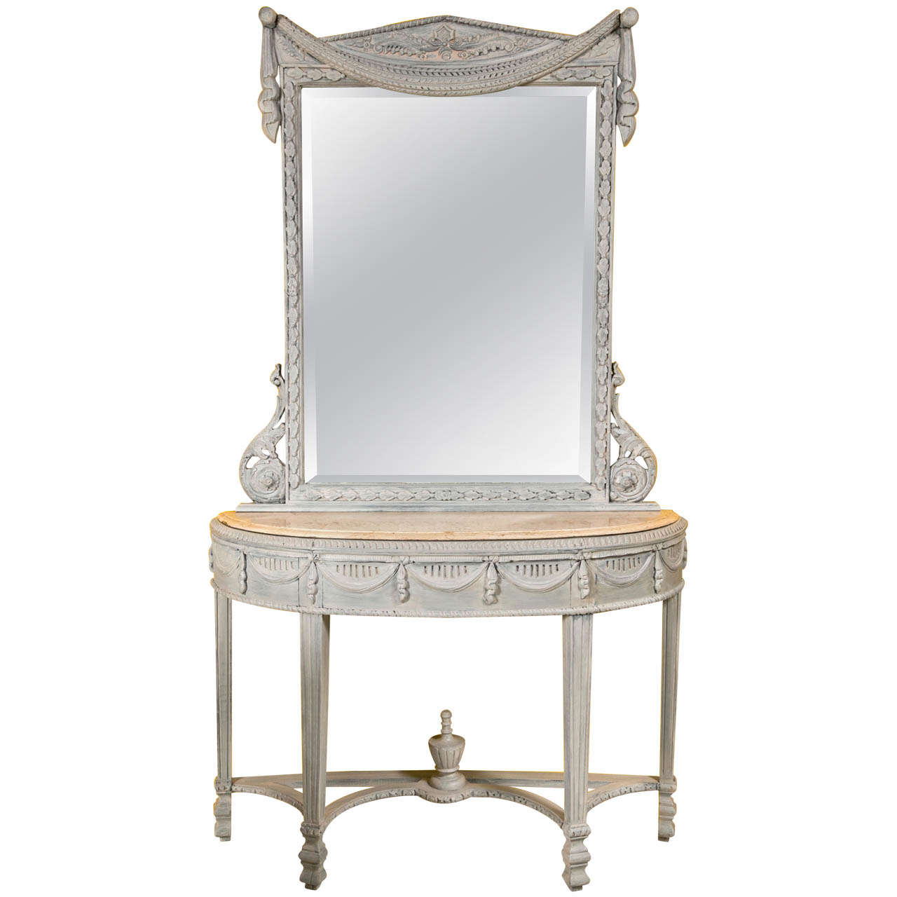 Swedish Style Paint Decorated Marble Top Console With Mirror At 1stdibs