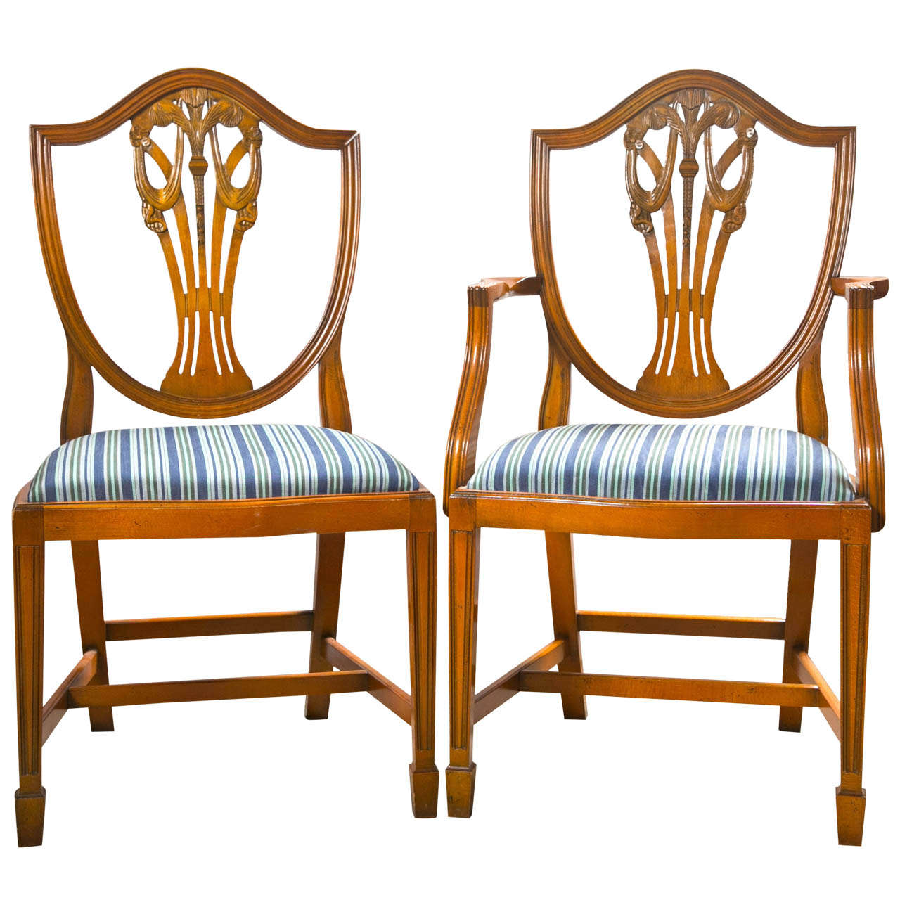 Set Of 12 Sheraton Style Dining Chairs By Charles Barr For