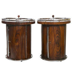 Pair of Art Deco Style Bar Pipe Holder Cabinets End Tables With Chrome Accents
