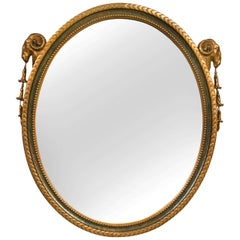 French Neoclassical Style Oval Mirror With Rams Head Design Paint And Gilded