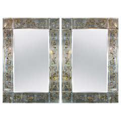 Pair of Maison Jansen Eglomise Mirrors