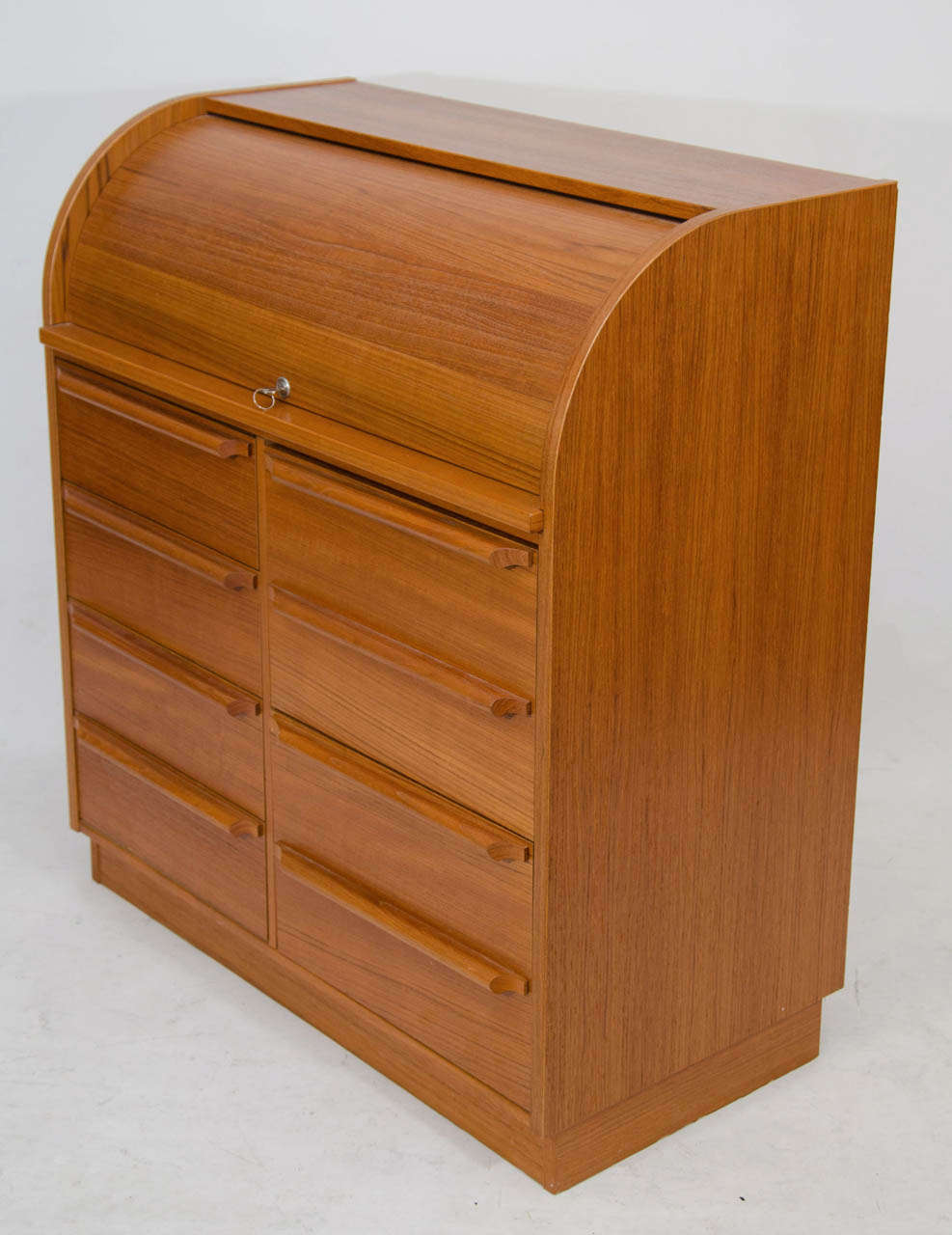 Attractive Modern Roll Top Secretary With A Pull Out Desk Surface And Small Drawers