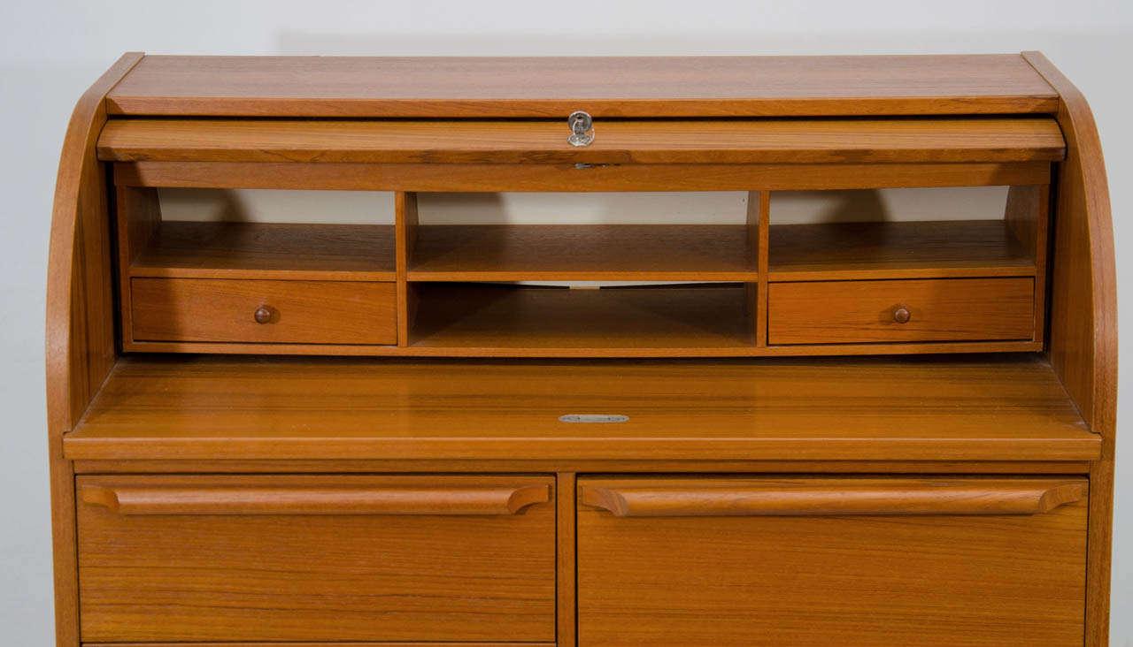 Scandinavian Modern Roll Top Secretary Desk For