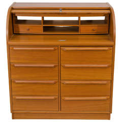 Scandinavian Roll Top Secretary Desk