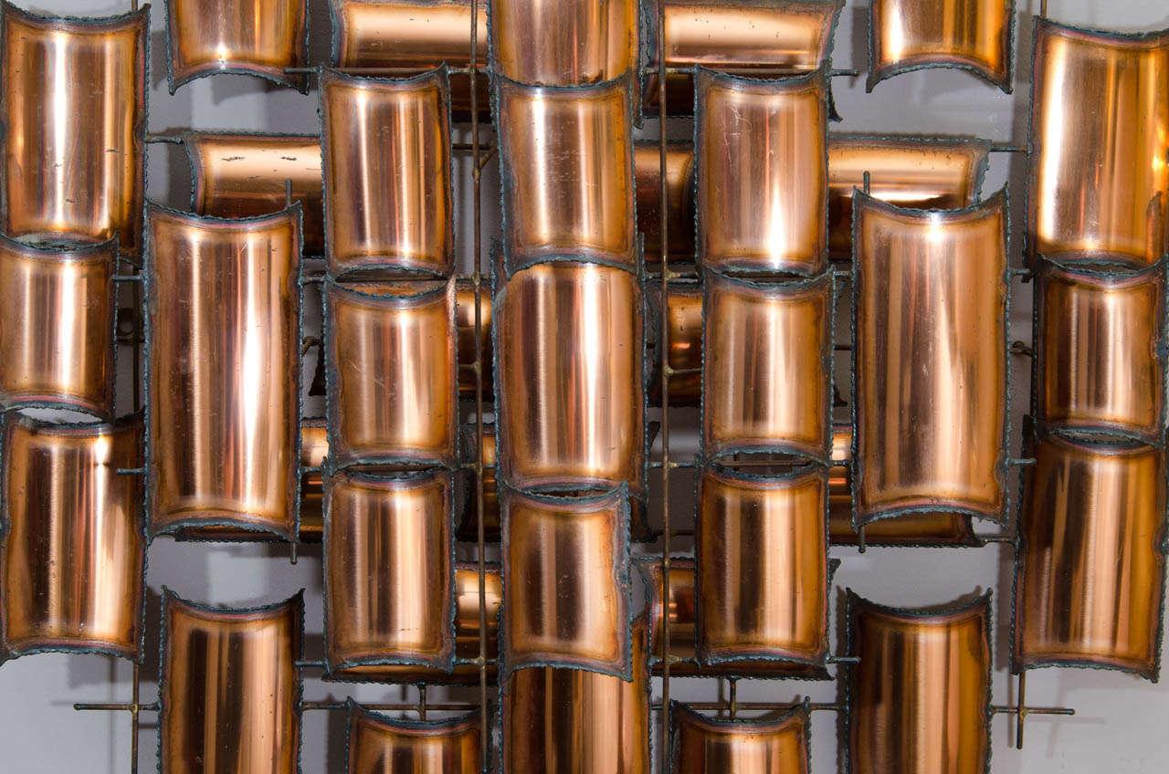 Mid Century Modern Torch Cut Copper Wall Art Sculpture For Sale
