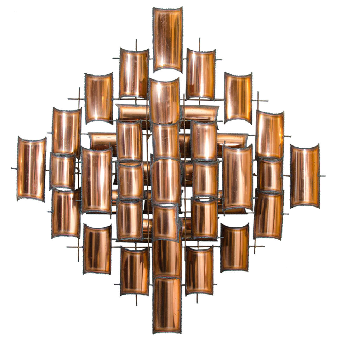 Lovely Torch Cut Copper Wall Art Sculpture For Sale