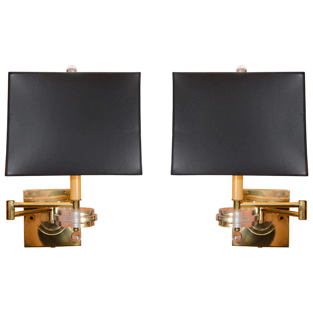 Pair of Brass and Lucite Swing Arm Wall Sconces For Sale