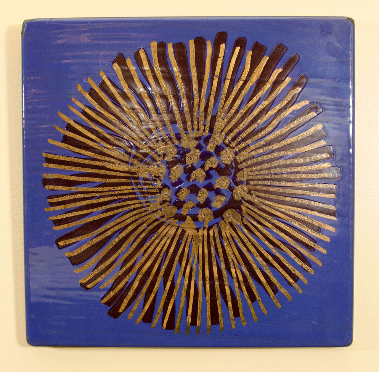Charming and fun blue enameled wall art by Gustavsberg. We also have a companion piece in red. Please contact for location. Offered by Las Venus by Kenneth Clark, New York City.