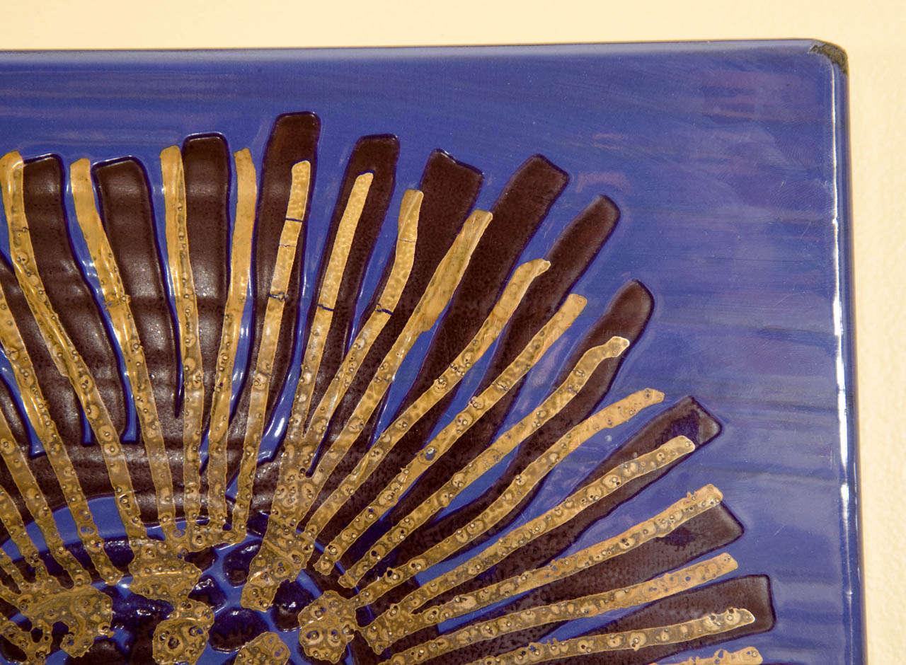 Swedish Blue Enameled Wall Art by Gustavsberg For Sale
