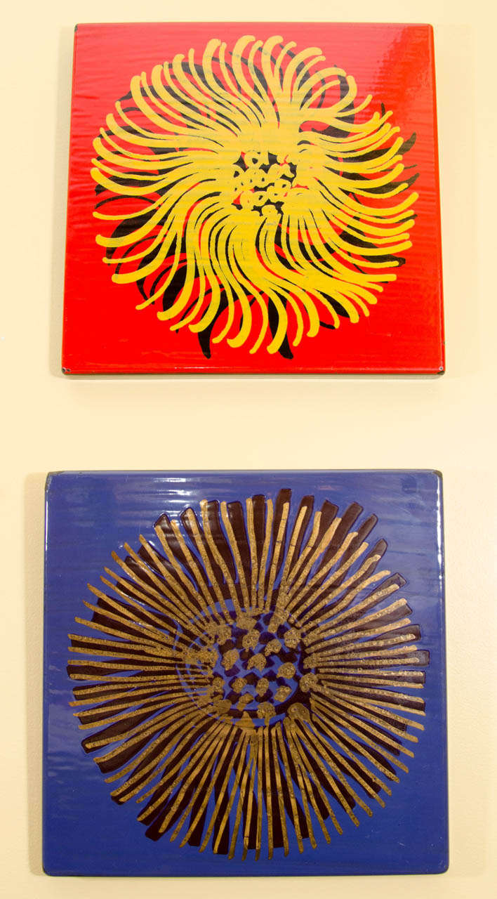 Blue Enameled Wall Art by Gustavsberg In Good Condition For Sale In New York, NY