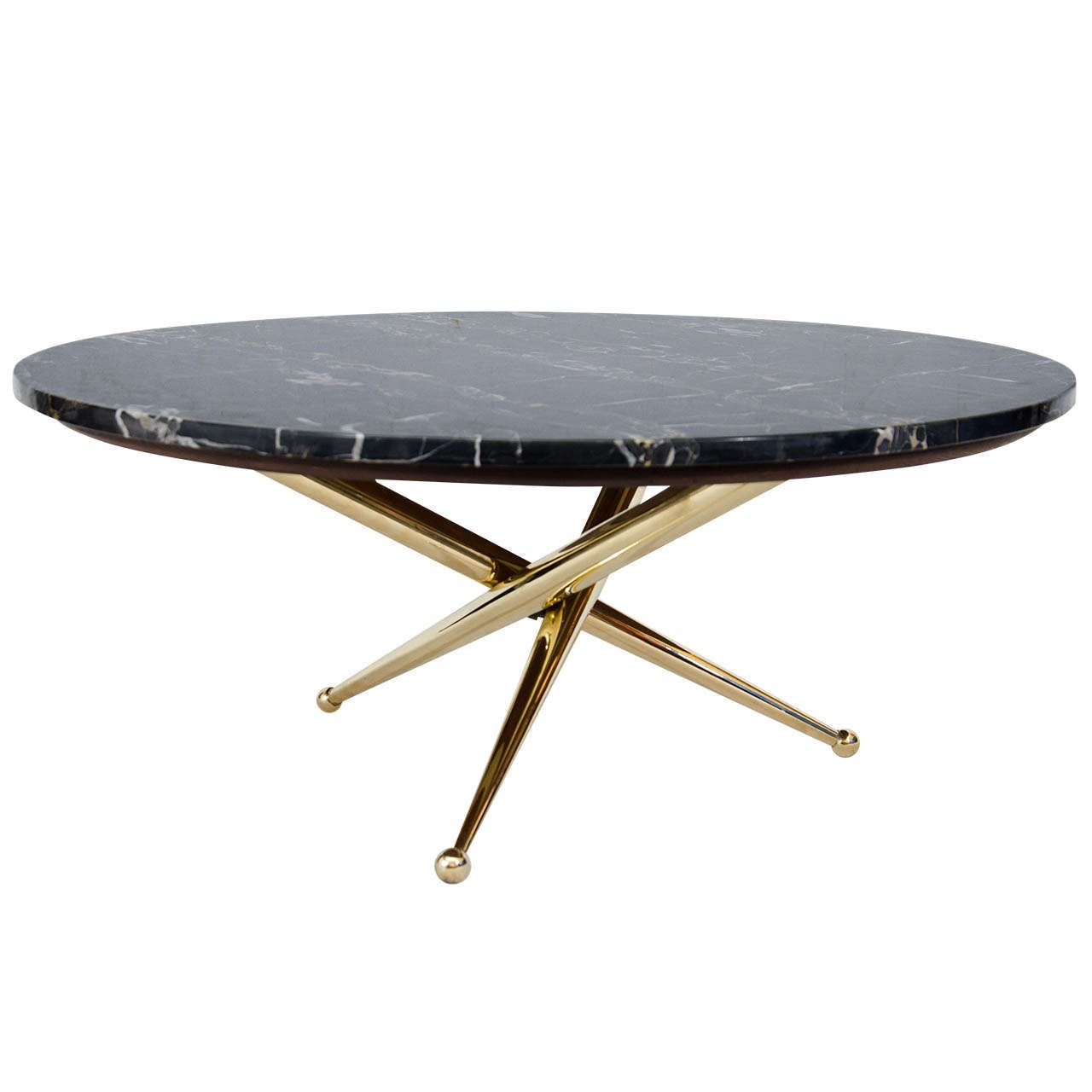 Italian Marble and Brass Coffee Table at 1stdibs