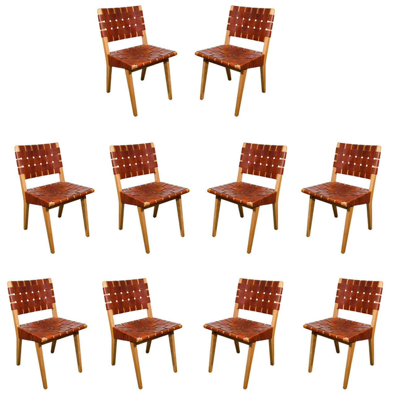1950 39 s jens risom for knoll leather webbed dining chairs at 1stdibs