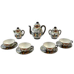 Early 20th Century Colourful Japanese Tea Set 7 Pieces
