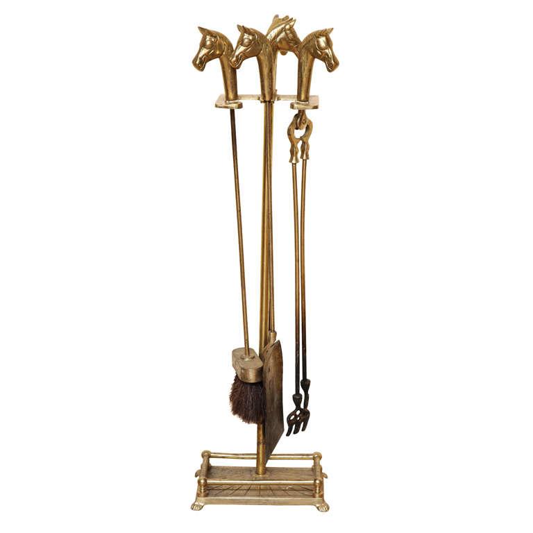 An Equestrian Motif Five Piece Brass Fire Tool Set At 1stdibs