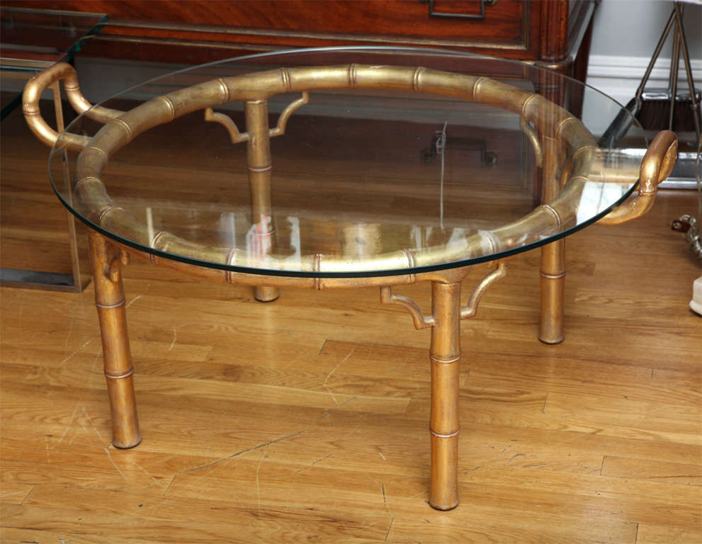 A Round Coffee Table With Carved And Giltwood Faux Bamboo Base At 1stdibs
