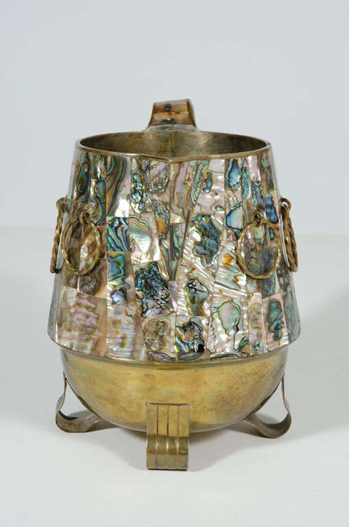 Mexican Abalone Shell and Brass Water Pitcher by Salvador Teran For Sale