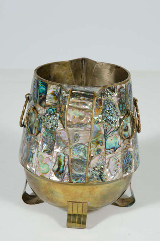 Abalone Shell and Brass Water Pitcher by Salvador Teran In Excellent Condition For Sale In New York, NY