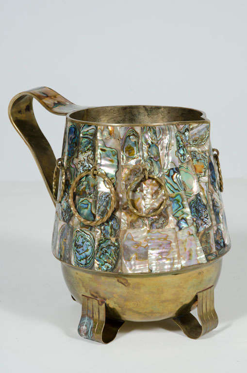 Abalone Shell and Brass Water Pitcher by Salvador Teran For Sale 5