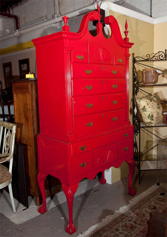 Red painted English Georgian style Highboy, possibly 2nd quarter of 20th century.