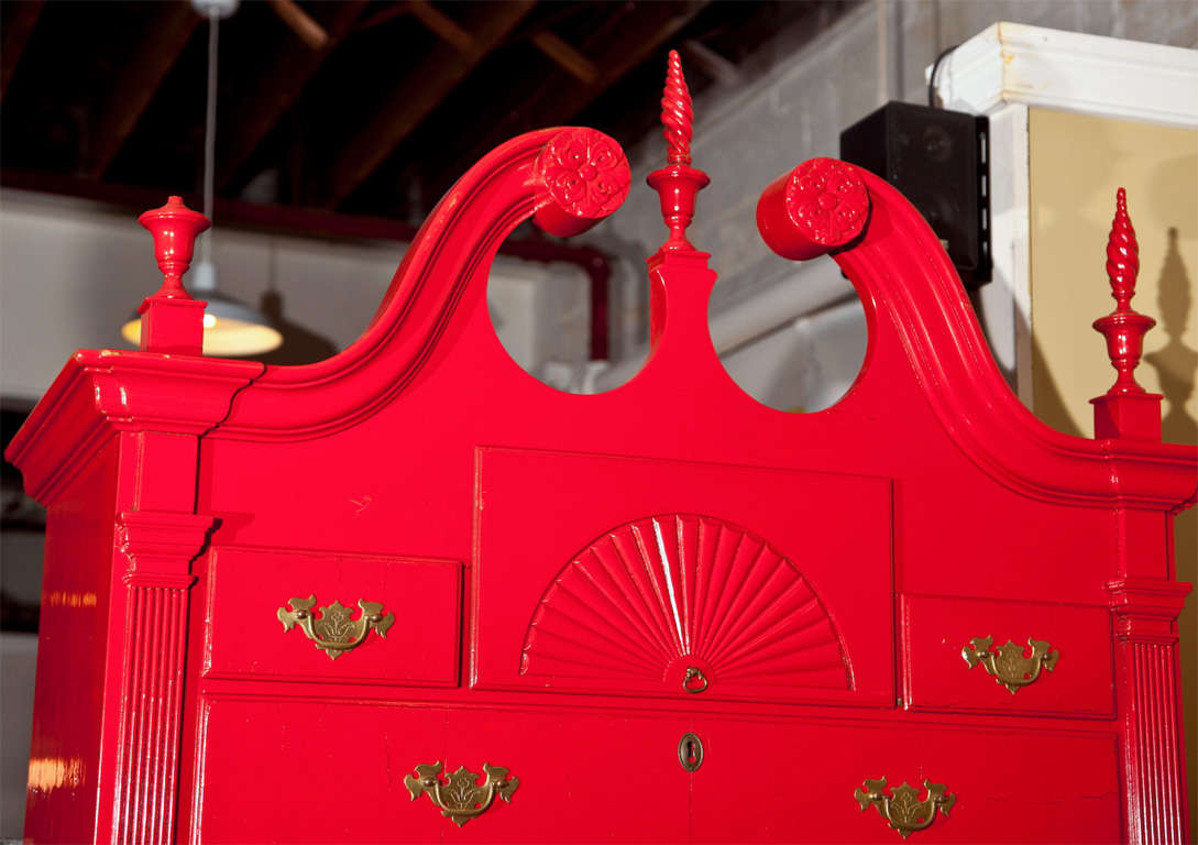 20th Century Red Painted English Georgian Style Highboy For Sale