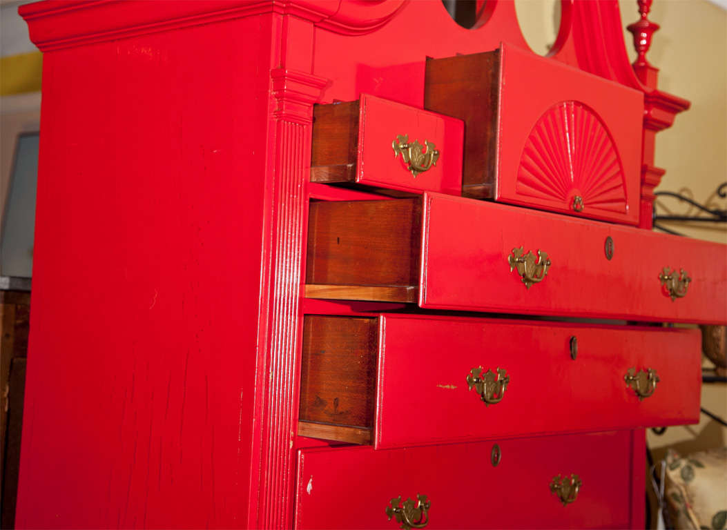 Red Painted English Georgian Style Highboy For Sale 1