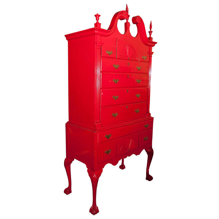 Red Painted English Georgian Style Highboy For Sale