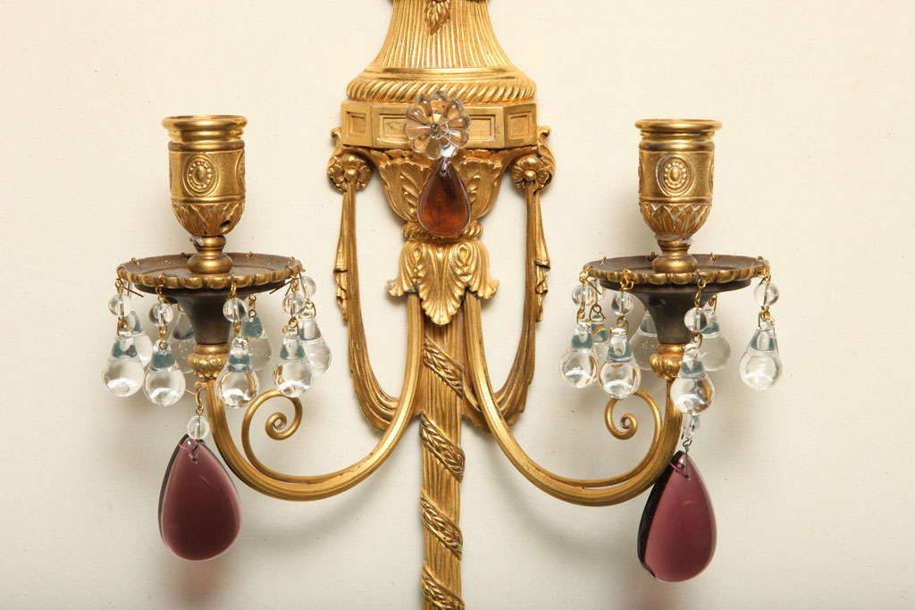 American Pair of Gilt Bronze and Crystal Sconces by Caldwell For Sale